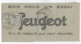1924 - TELEGRAMME PUB ILLUSTRE AUTO PEUGEOT TAXE ! Pour POSTE RESTANTE à CLERMONT-FERRAND (PUY DE DOME) - Marcophilie (Lettres)