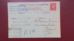 Entier Petain Carte Commerciale Grenoble Janvier 1942 Pour Paris Via Chambre Commerce De Lyon - Postal Stamped Stationery