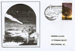 Australie. Comète De Halley Passage Au-dessus Du Village De COMET Au Queensland ! Lettre Adressée á DARWIN - Astronomie