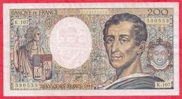 """200 Francs """"Montesquieu"""" 1992 ------F/TTB+---Série K.107 - 1962-1997 ''Francs''"""