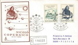 VATICAN. Hommage à Copernic, Sur Lettre Recommandée Vaticano Adressée à Pistoia., 1973. Deux Photos Recto-verso. - Astronomie