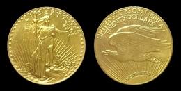 COPIE - 1 Pièce Plaquée OR Sous Capsule ! ( GOLD Plated Coin ) - 20 Dollars Saint Gaudens 1923 - L. Gold (Or)