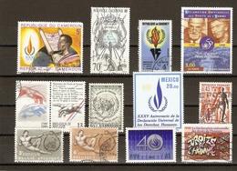 Déclaration Universelle Des Droits De L'homme - Petit Lot De 13 (11° + I Vignette + 1MNH) - Timbres