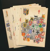 """9 Cartes """"Armoiries Des Provinces Belges"""" Non écrit - Belgique"""