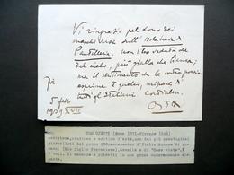 Autografo Ugo Ojetti Cartolina Accedemia D'Italia 1939 Isola Pantelleria Poesie - Autografi