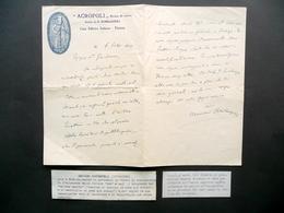 Autografo Massimo Bontempelli Lettera Rivista Acropoli Firenze 1911 Letteratura - Autografi