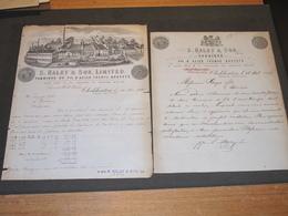 Cleckheaton - 24/9/1893 - FACTURE S HALEY & SON. LIMITED +UN COURRIER - Allemagne