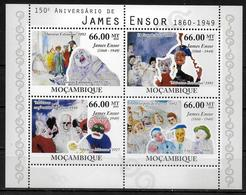 MOZAMBIQUE Feuillet N° 3444/47  * *  ( Cote 24e ) Tableaux James Ensor - Kunst