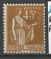 TYPE PAIX N° 282 Varétée Rameau Incomplet  NEUF* GOM D'ORIGINE TRACE DE CHARNIERE / MH - 1932-39 Paix