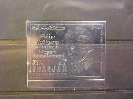 UAE Sharjah 1983 Air Mail  Stamp Amadeus Mozart  Silver 3 Rl Imperforated Stamp VF MNH  NL - Sharjah