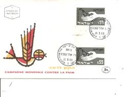 Contre La Faim ( FDC De Israel De 1963 Avec Timbres Interpanneaux à Voir) à Voir) - Contro La Fame