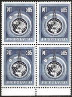 Yugoslavia 1966 Scott 809 MNH Block Of Four Radio Amateurs, Map, Glob - Neufs