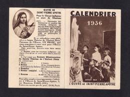 Calendrier De Poche 1936.  Oeuvre De Saint-Pierre Apôtre.   Pour Le Clergé Indigène...!!! - Petit Format : 1921-40