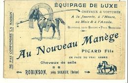 ROBINSON  Au Nouveau Manège Equipage De Luxe PICARD Fils, Chevaux & Voitures, Horaires De La Ligne (pli Central) Non Cp - France