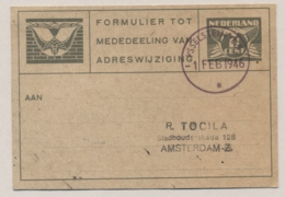 Nederland - 1946 - 1,5 Cent Verhuiskaart Met Rubber Noodstempel YSSELSTEIN Naar Amsterdam - Poststempels/ Marcofilie