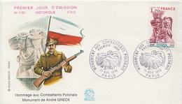 France Stamp On FDC, Polish Army - Militaria