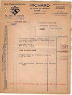 VP14.011 - Facture -  Automobiles CITROËN - Les Etablissements PICHARD à TOURS - Cars