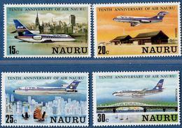 Nauru 1980 - 10 Year Air Nauru  - Fokker - Dessault Falcon - 4 Values MNH Planes Boeing Connections - Nauru