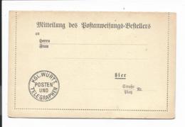 Württemberg Kartenbrief - Formular Zur Mitteilung Des Eingangs Einer Postanweisung - Interi Postali