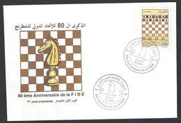 Chess, FDC, Algeria Algiers, 20.07.2004, Special Cancel & Cachet On Envelope - Schaken