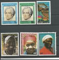 COMORES Scott 549-550, 576-578, C138 Yvert 366-367, 393-395, PA206 (6) ** Cote 11,50 $ 1982-4 - Comores (1975-...)