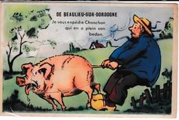 19 : BEAULIEU Sur DORDOGNE Je Vous Expedie Chonchon , Carte Systeme Avec Depliant , Cochon - Other Municipalities