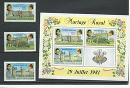 COMORES Scott 551-553 553a Yvert 370-372 BF35 (3+bloc) ** Cote 17,25 $ 1982 SURCHARGES - Comores (1975-...)