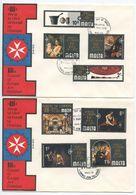 Malta 1970 2 FDCs Scott 409-416 XIIIth Council Of Europe Art Exhibition - Malta