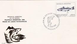 PECES DE LAGOS PATAGONICOS-FDC 1989 BUENOS AIRES, L'ARGENTINE-CARD - BLEUP - Vissen