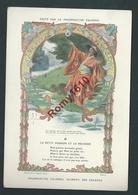 Typogravure Fable De La Fontaine édité Par Phosphatine Falière.LE PETIT POISSON ET LE PECHEUR. Art-Nouveau. 2 Scans - Vieux Papiers