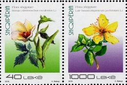 Albania - 2018 - Albanian Flora - Flowers - Okra And St. John's Wort   - Mint Stamp Set - Albanie