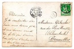CF Expédiée De Lokeren Le 14-VIII-1914 Vers Schaebeek - Cachet D'arrivée à Bruxelles (14-VIII-1914) - WW I