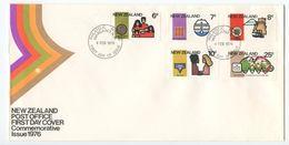 New Zealand 1976 FDC Sc 593-597 Mothers, Metric, New Plymouth, YMWA, Telecom - FDC