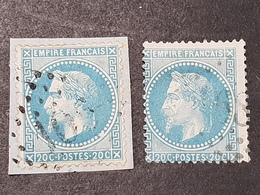 Napoléon III Lauré  N° 29B X2 (Variété, Belle Tache/point) Avec Oblitération D'Epoque  TB - 1863-1870 Napoleon III With Laurels