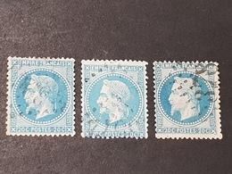 Napoléon III Lauré  N° 29A X3 (Variété, Belle Cassure Filet) Avec Oblitération D'Epoque  TB - 1863-1870 Napoleon III With Laurels