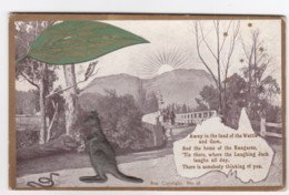 Australia Promotion Kangaroo Attachment Greetings From Australia, C1900s/10s Vintage Postcard - Australia