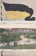 Vienna Wien Austria, Schoenbrunn View Of Park, Flag, C1900s Vintage Postcard - Schloss Schönbrunn