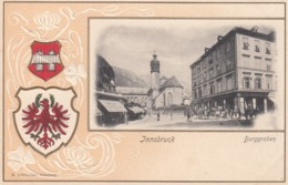 Innsbruck Austria, Burggraben Street Scene, Coat Of Arms Crest C1900s Vintage Embossed Postcard - Innsbruck
