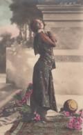 Ruth St. Denis Early Modern Dancer Fancy Dress, C1900s/10s Vintage Colorized Real Photo Postcard - Dance