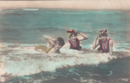 3 Women In Swimsuits Laying In Surf At Beach, Fashion 'Bathing Beauty', C1900s/10s Vintage Real Photo Postcard - Fashion