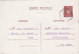 Carte Commerciale 1942 / Entier Pétain 1F20 / Ets LATHENE / Orval Par St-Amand / 18 Cher - Cartes