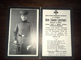 Sterbebild Wk1 Ww1 Bidprentje Avis Décès Deathcard 3. Ersatz IR Lapetile Fasse La Petit FOSSE ? 19. September 1914 Dörfl - 1914-18