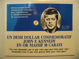 DEMI DOLLAR COMMEMORATIF JOHN F. KENNEDY EN OR MASSIF 18 CARATS - United States