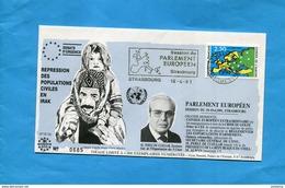 """Marcophilie-Enveloppe Illustrée-numérotée - Cad Strasbourg 1991+flamme """"session Du Parlement"""" Timbre N°104 Conseil  E U - Marcophilie (Lettres)"""