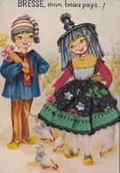 Bresse, Mon Beau Pays - Costumes Traditionnels - Folklore - Carte Brodée - Tissu - Bestickt