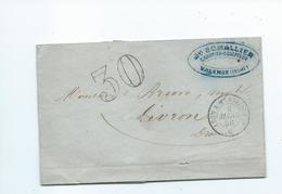 Lettre De Valence Drome Pour Livron Drome  Taxe30  Convoyeur Lyon à Marseille  1856 - Postmark Collection (Covers)