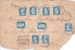 DEVANT DE LETTRE CHARGE De HOUEILLES 13 9 1926 50g Tarif 6.90F 6x N° 179 Pasteur Et 3x N° 192 Semeuse VD 20000F - 1922-26 Pasteur