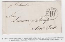 USA New York 1862 Steamship 10 Cover - Postal History