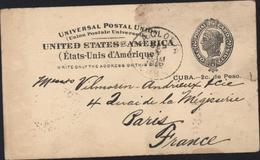 Entier Universal Postal Union UPU United States America 2 C Postal Card Cuba 2 C Peso CAD La Gloria Sep 8 1902 Pr France - Ganzsachen