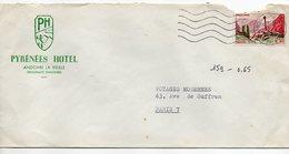 Andorre -- Lettre De Andorre La Vieille Pour Paris-timbre Seul Sur Lettre Personnalisée Pyrénées Hotel - Cartas